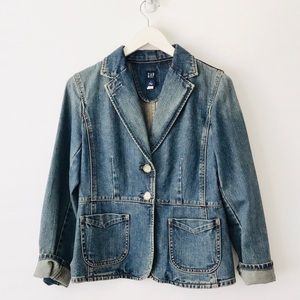 Vintage Denim Blazer Stitch Detail Sz 4